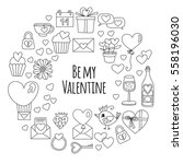 valentine day vector pattern... | Shutterstock .eps vector #558196030