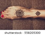 painting with henna on the... | Shutterstock . vector #558205300