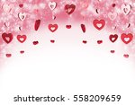 red decorative hearts on pink... | Shutterstock . vector #558209659