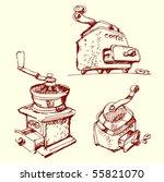 coffee grinder. handmade sketch.... | Shutterstock .eps vector #55821070