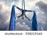 beautiful woman dancing with... | Shutterstock . vector #558219160