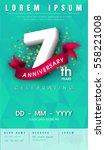 7 years anniversary invitation... | Shutterstock .eps vector #558221008