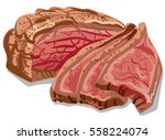 illustration of cooked sliced... | Shutterstock .eps vector #558224074
