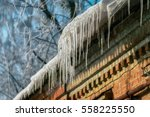 Icicle On The Roof. Winter...