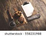 steak on wooden serving board ... | Shutterstock . vector #558231988
