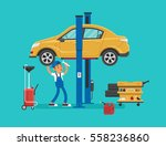 car mechanic working in auto... | Shutterstock .eps vector #558236860
