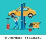 car mechanic working in auto... | Shutterstock .eps vector #558236860