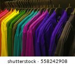 rainbow colors clothing hanging ... | Shutterstock . vector #558242908