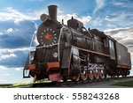old  retro steam locomotive on... | Shutterstock . vector #558243268