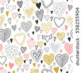 valentine's seamless pattern... | Shutterstock .eps vector #558255904