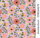 seamless hand drawn flower... | Shutterstock .eps vector #558264670