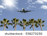 airplane flying over florida... | Shutterstock . vector #558273250