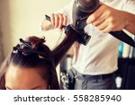 beauty  hairstyle  blow dry and ... | Shutterstock . vector #558285940