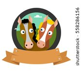 the horse logo. two horses in a ... | Shutterstock .eps vector #558286156
