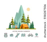 summer camp. landscape with... | Shutterstock .eps vector #558287506