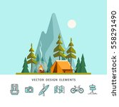 summer camp. landscape with... | Shutterstock .eps vector #558291490
