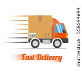 fast delivery concept. truck... | Shutterstock .eps vector #558294694