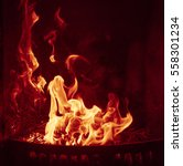 Close Up Of Burning Fireplace...