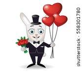 happy rabbit with bouquet of... | Shutterstock .eps vector #558301780