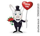 happy rabbit with bouquet of... | Shutterstock .eps vector #558301810