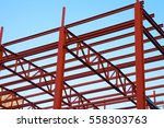 structural steel beam on roof... | Shutterstock . vector #558303763