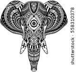 ethnic elephant face | Shutterstock .eps vector #558310378
