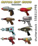 vector retro ray guns set laser ... | Shutterstock .eps vector #558311998