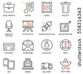 vector set of 16 linear quality ... | Shutterstock .eps vector #558316363