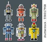 vector retro toy robots set...   Shutterstock .eps vector #558317908