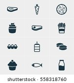 illustration of 12 food icons.... | Shutterstock . vector #558318760