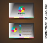 business card with glow and... | Shutterstock .eps vector #558323500
