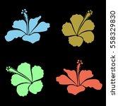 4 Hibiscus Flowers. Watercolor...