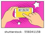 comic phone with halftone... | Shutterstock .eps vector #558341158