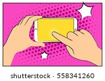 comic smartphone phone with... | Shutterstock .eps vector #558341260