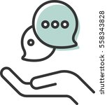 chat in hand icon vector