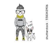 cartoon boy with french bulldog ... | Shutterstock .eps vector #558343906