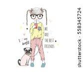 cartoon girl with pug dog   kid ...