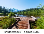 scenic picture lake with mount... | Shutterstock . vector #558356683