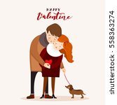 couple with a dog  valentine... | Shutterstock .eps vector #558363274