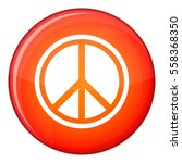 sign hippie peace icon in red... | Shutterstock . vector #558368350