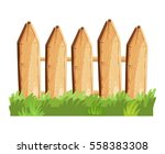 cartoon rural wooden fence in...