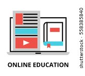 online education icon  flat... | Shutterstock .eps vector #558385840