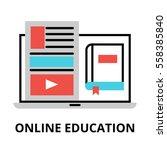 online education icon  flat... | Shutterstock .eps vector #558385840