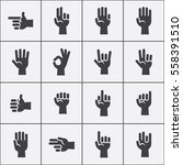 hands gestures vector icons set ... | Shutterstock .eps vector #558391510