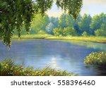 landscape river  oil paintings... | Shutterstock . vector #558396460