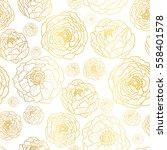 vector golden on white peony... | Shutterstock .eps vector #558401578