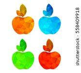 four vector polygonal apple red ... | Shutterstock .eps vector #558409918