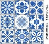vintage ceramic tiles vector... | Shutterstock .eps vector #558410968