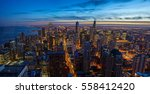Chicago Skyline Sunset With...