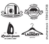 vector set of laundry logos... | Shutterstock .eps vector #558413938
